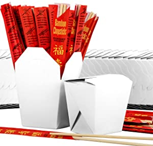 White 16 oz Chinese Take Out Box and Premium Bamboo Disposable, Sleeved and Separated Chopstick Set. 25 of Each by Avant Grub. Stackable, Recyclable Leak and Grease Resistant to Go Food Containers