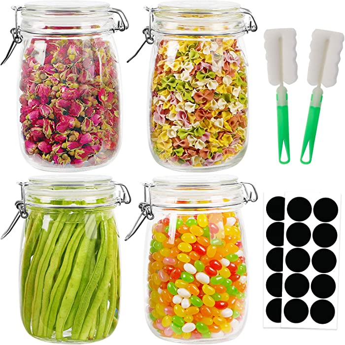 Jars with Airtight Lids, 32oz 4pcs Airtight Jars and Leak Proof Rubber Gasket, Wide Mouth Glass Jars with Hinged Lid for Preserving, Decorating, Kitchen Canisters, Food Storage