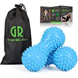 GR Foot Massage Ball Roller (Set of 2) - Peanut Spiky Massage Ball - Reflexology Muscle Trigger Point Therapy - Perfect for Plantar Fasciitis, Deep Tissue and Muscle Relief