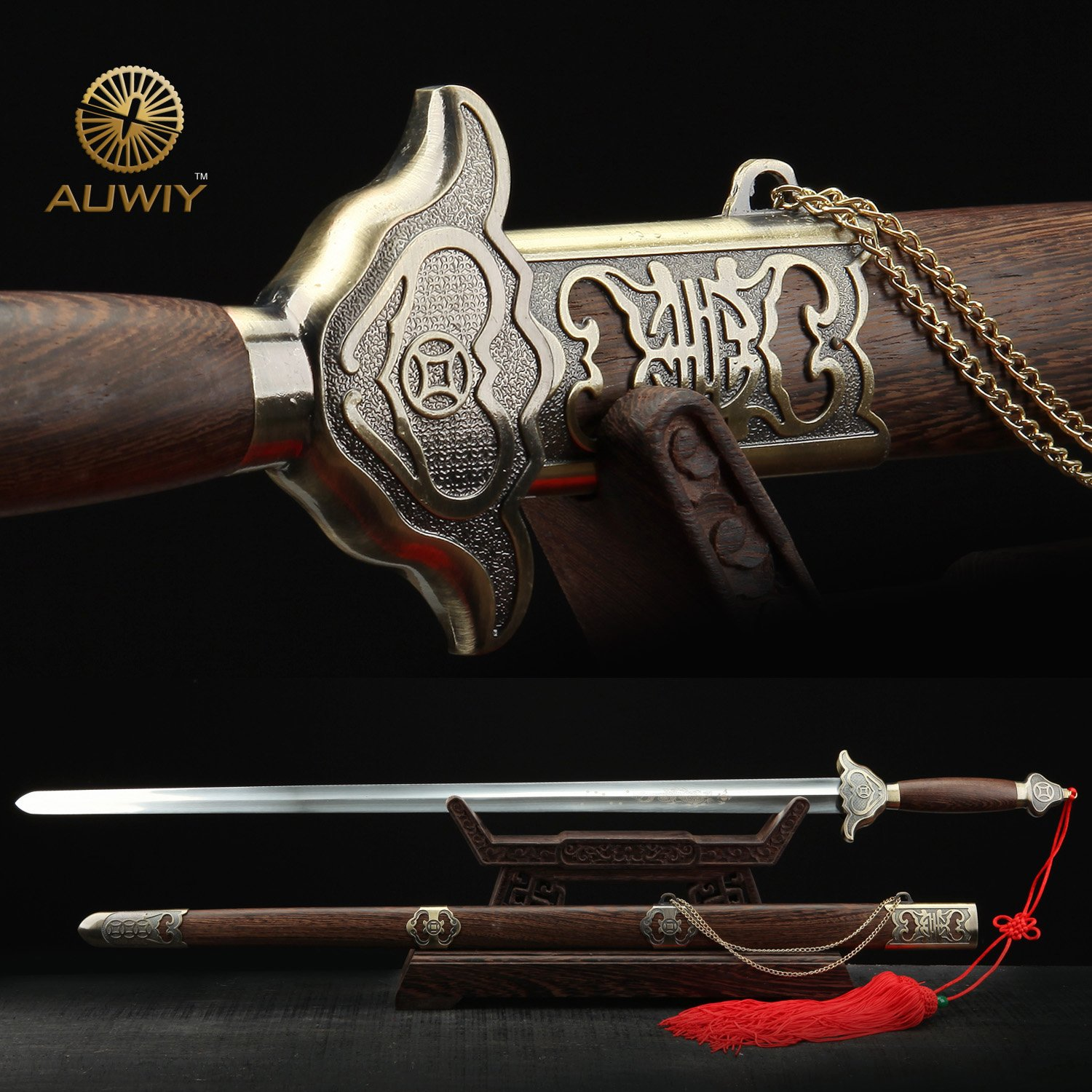 Auwiy Full Hand Forge 40 Inches Stainless Steel Chinese Swords Tai Chi Practice Sword by Auwiy