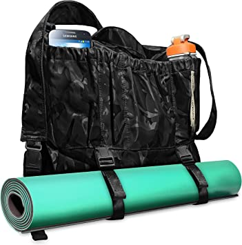 Multi-Purpose Large Yoga Bag, Mat Carrier. Backpack Exercise Yoga Tote with Multiple Pockets. Adjustable Straps. Perfect for Hiking, Biking, Gym and ...