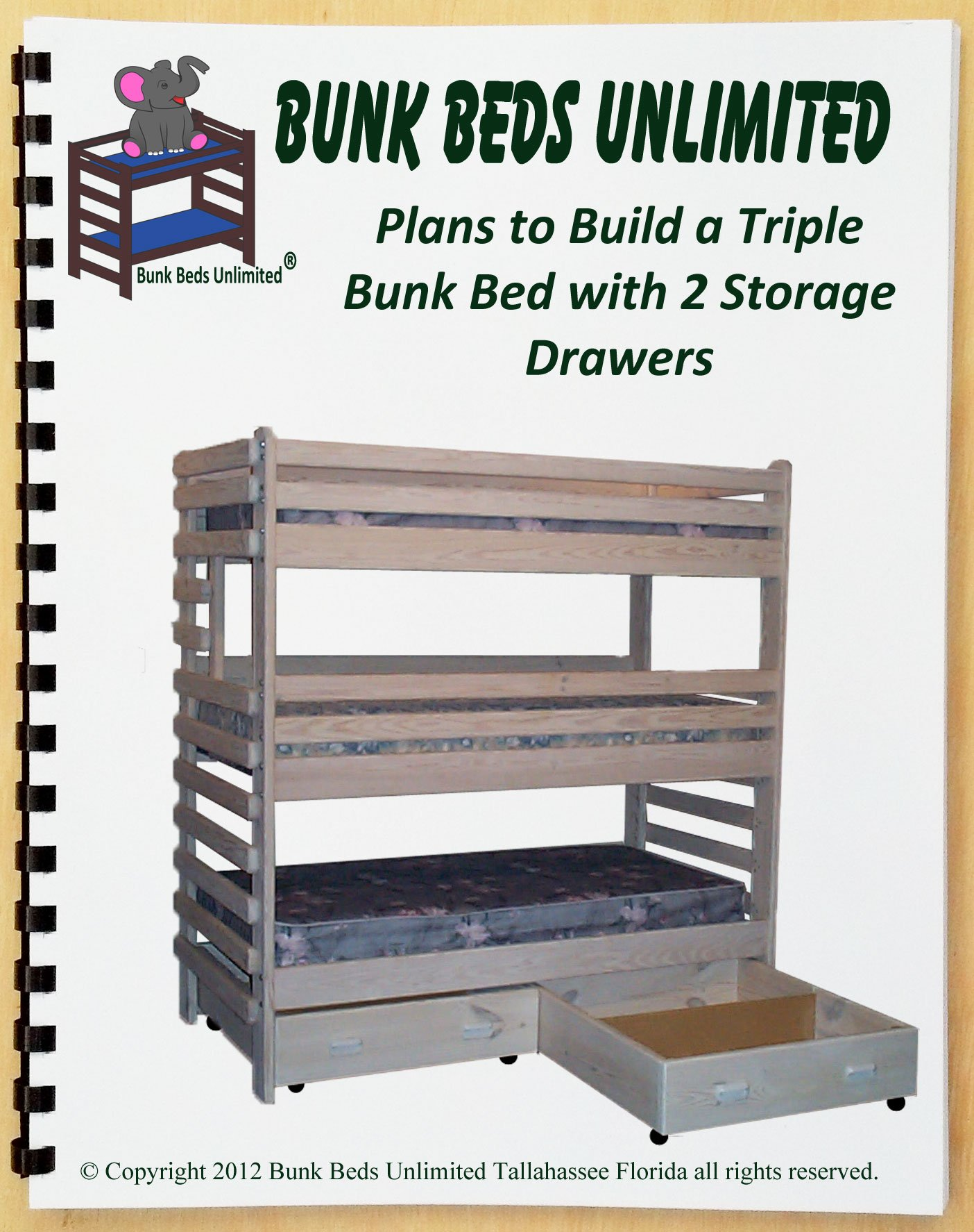 Triple Bunk DIY Woodworking Plan to Build Your Own Extra-Tall with Two Large Storage Drawers and Hardware Kit for Bunk and Two Drawers that Sleeps Three (Wood NOT Included)
