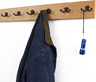 """product image for Solid Cherry Wall Mounted Coat Rack with Oil Rubbed Aged Bronze Coat Hooks - Double Style Wall Hooks - 4.5"""" Utra Wide Rail– Made in The USA - (Natural Stain - 4.5"""" x 30.5"""" - 6 Hooks)"""