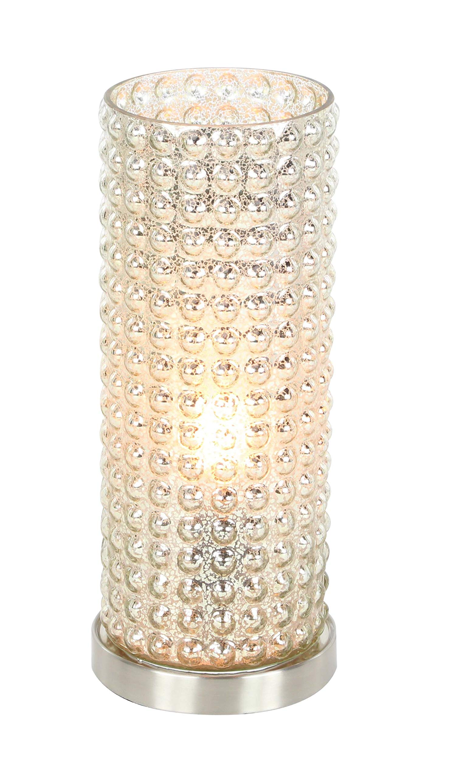 Deco 79 Glass and Metal Uplight, 15'', Clear/Silver, 2 Piece