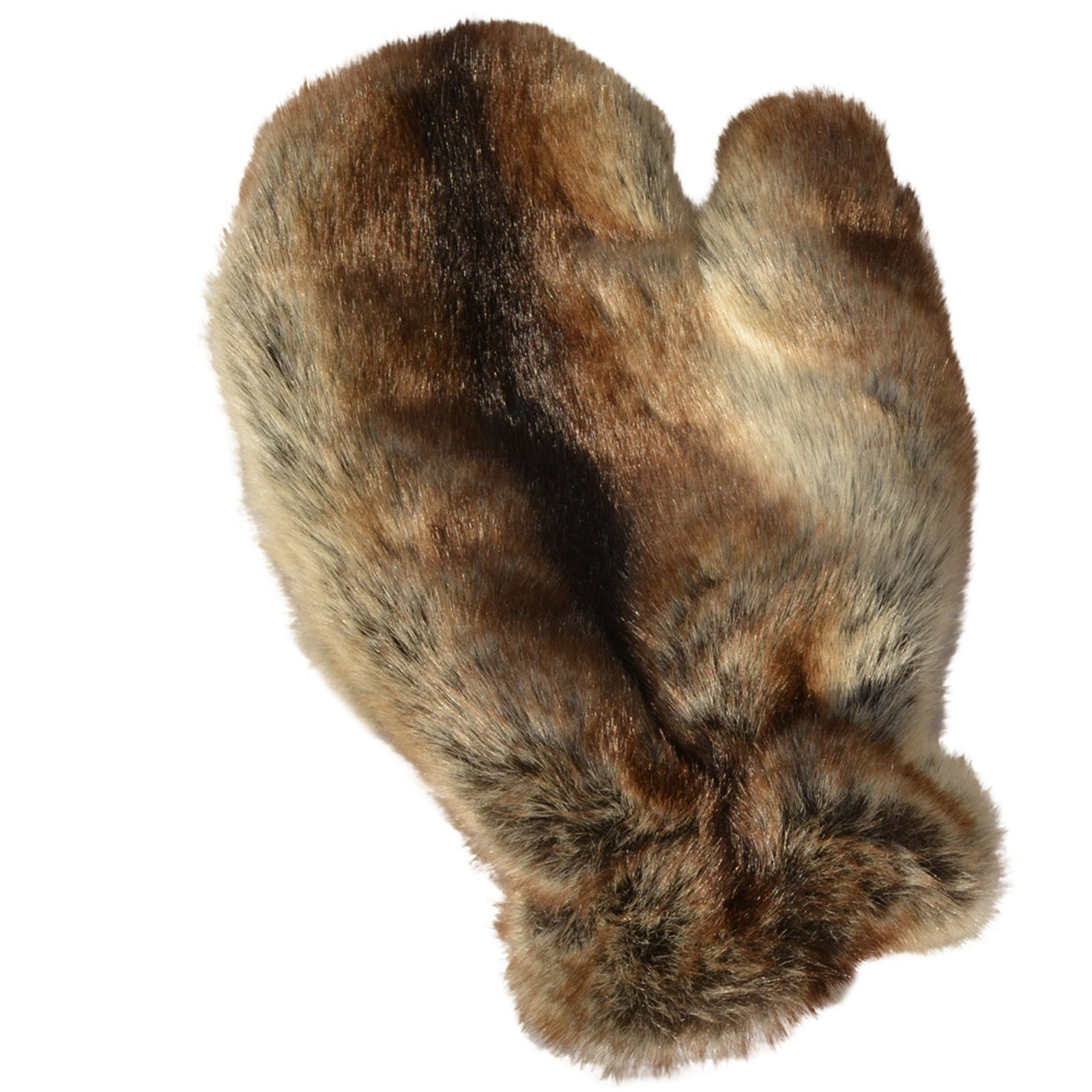 MinkgLove Fake Rex Rabbit Massage Glove, Plush Airy Velvety Soft Feeling, Chinchilla Brown Color, Unisex, Hand Tailored, One Size - Double Sided Faux Fake Fur