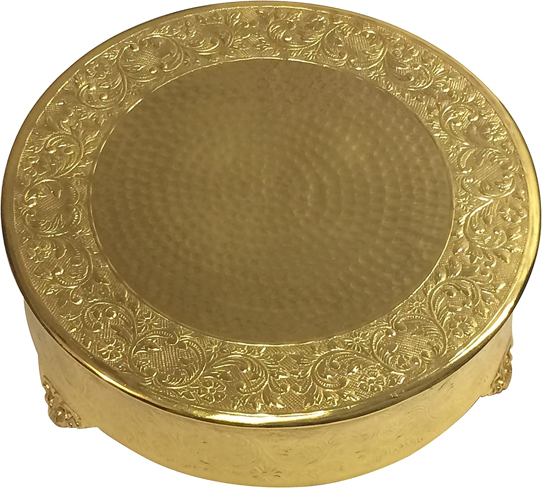 "GiftBay Creations Gold Wedding Cake Stand Round 18"", Aluminum Metal"
