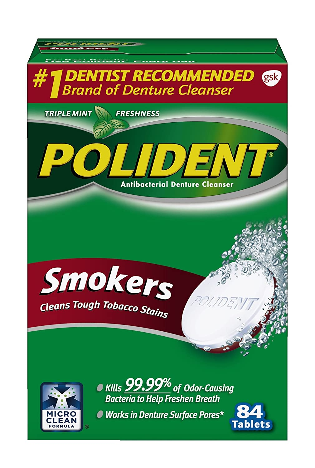 Polident Smokers Denture Cleanser, 84 Count 32083