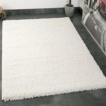 VIMODA Prime Shaggy Teppich Weiss Creme Hochflor Langflor Teppiche Modern  Für Wohnzimmer Schlafzimmer 70x140 Cm