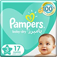 Pampers Baby-Dry Diapers, Size 3, Midi, 6-10kg, Carry Pack, 17 Count