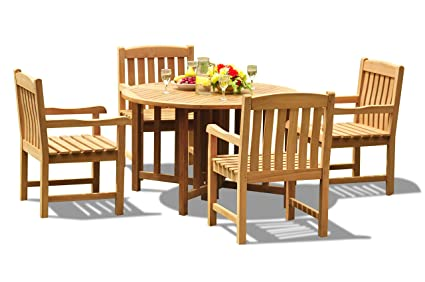Fabulous Amazon Com 5 Pc Outdoor Teak Dining Set 48 Butterfly Pdpeps Interior Chair Design Pdpepsorg