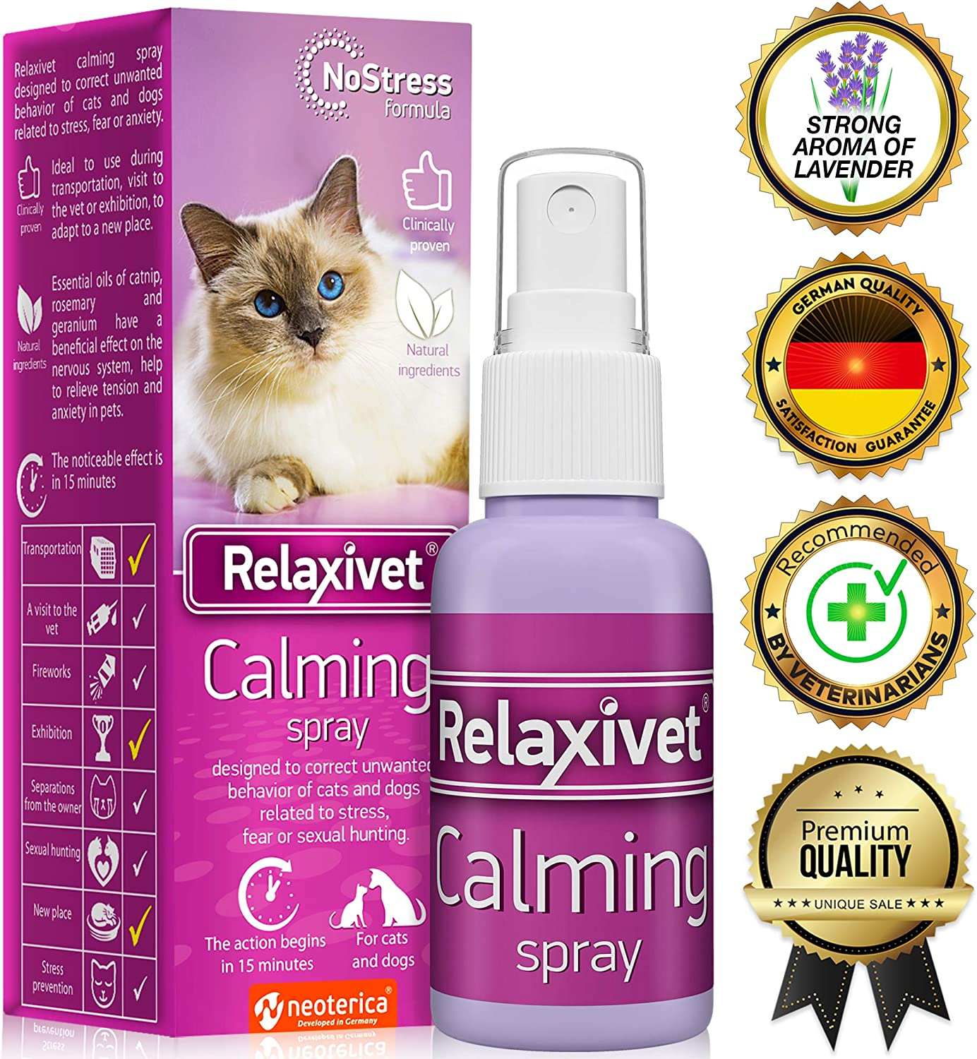 Relaxivet Pheromone Calming Spray for Cats and Dogs with a Long-Lasting Calming Effect - #1 Spray for Stress Prevent and Relax - Anti-Anxiety Spray for Pets