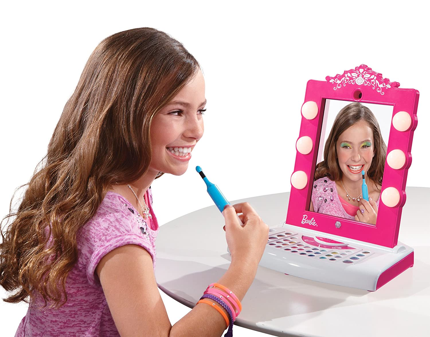 Amazon Com Barbie Digital Makeover Mirror Toys Games