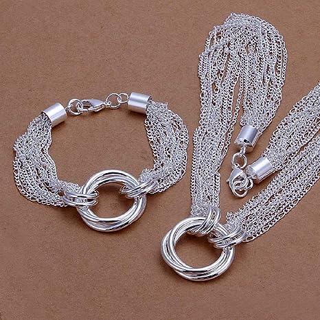 a3060cf2959c joyliveCY 2016 la moda mujer elegante 925 bañado en plata joyas pulsera  collar Juego Red de