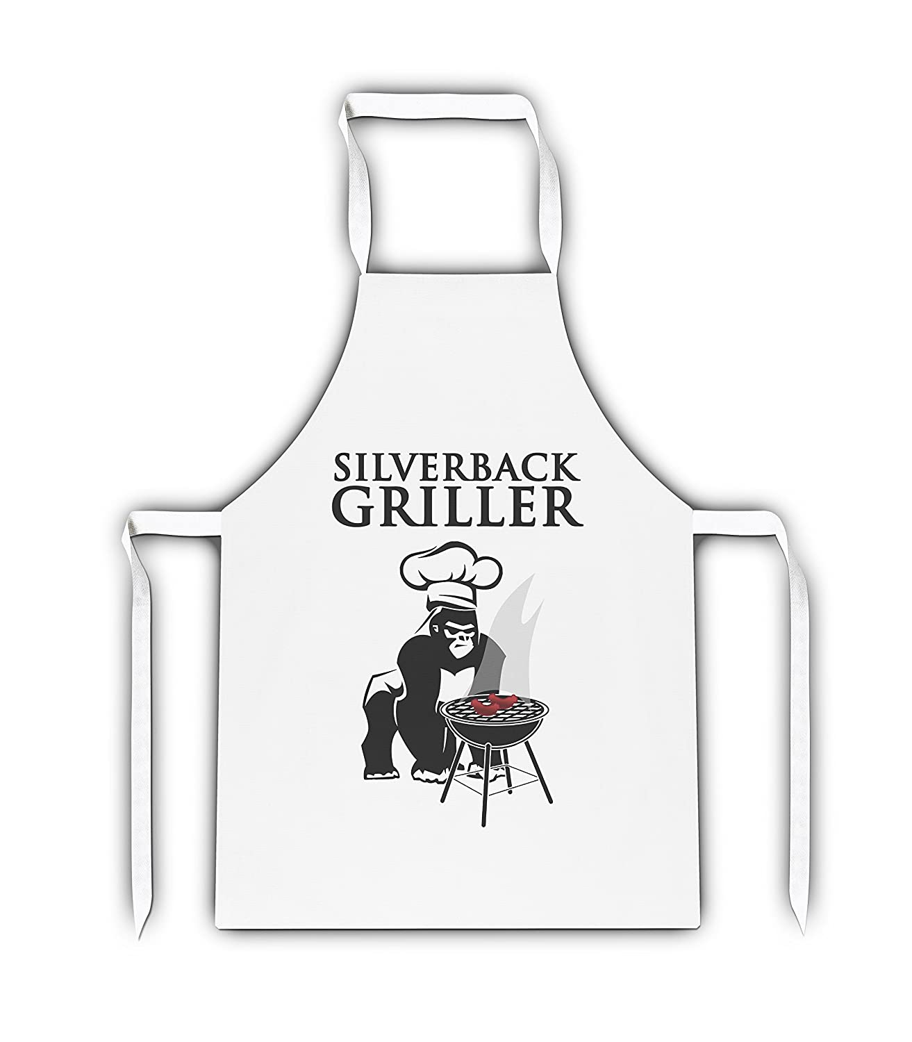 Silverback Griller Funny Novelty White Adult Apron