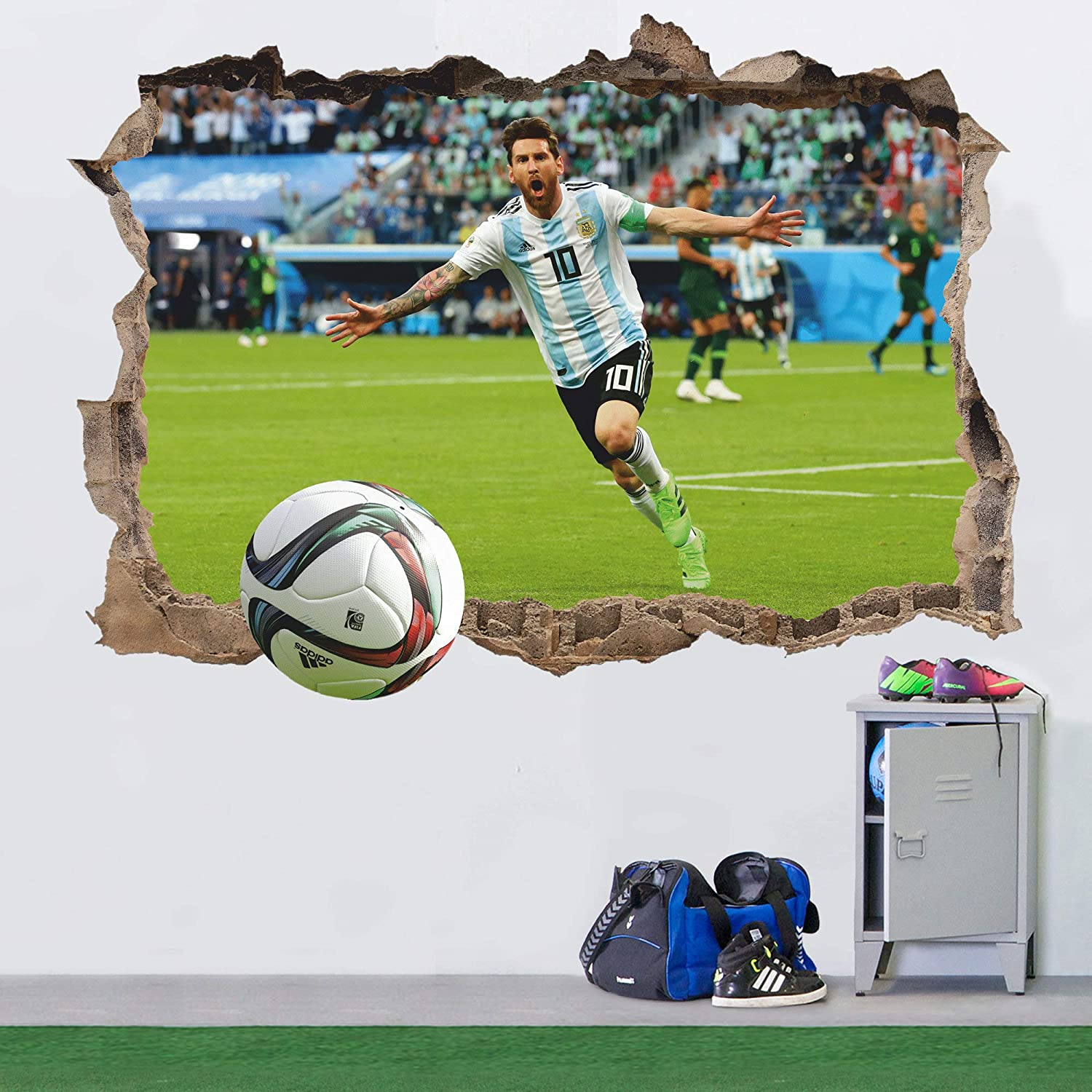 FIFA Wall Sticker Removable Football 3D Wall Decal Lionel Messi Sport