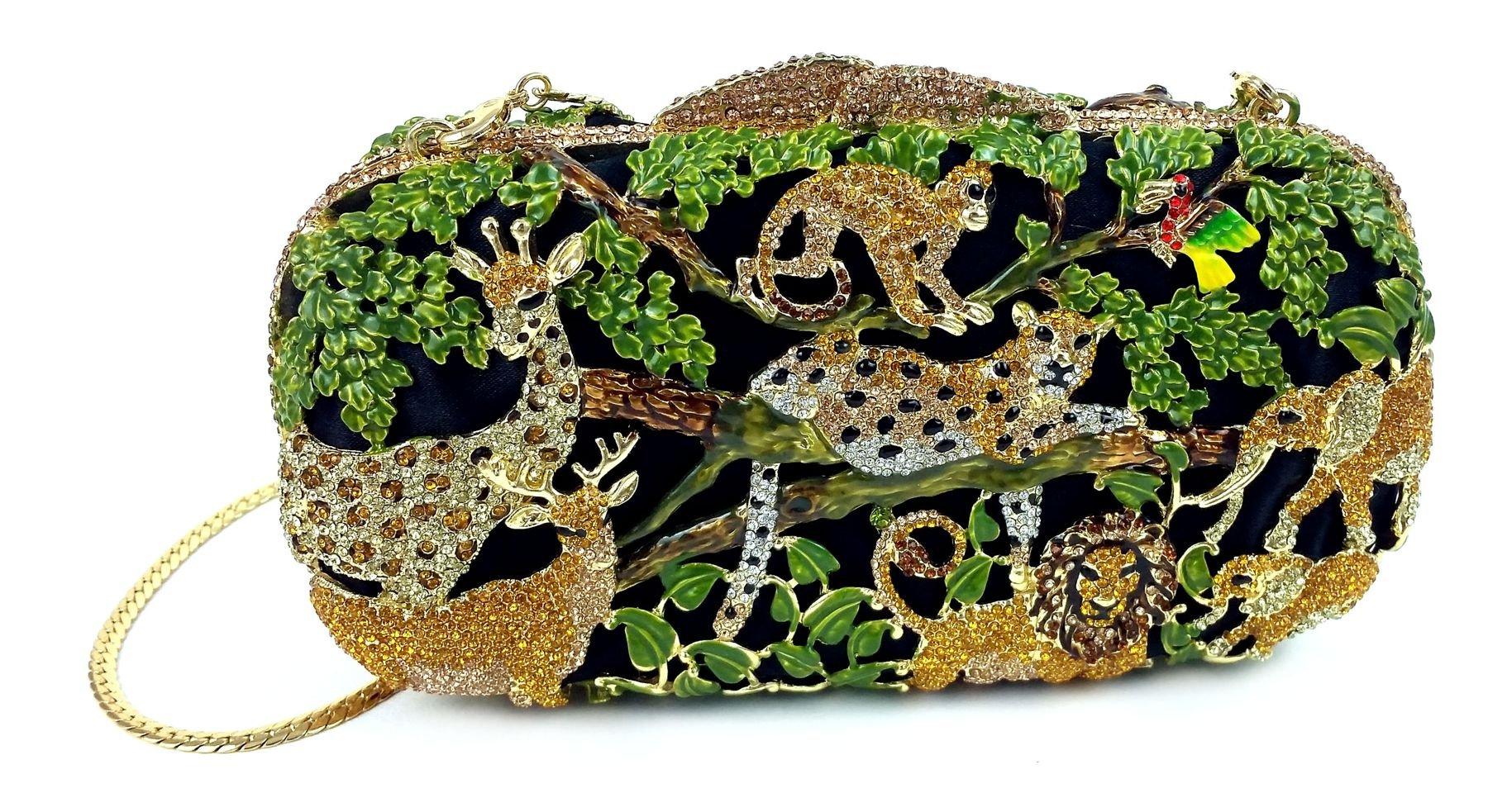 "''Jungle Fever'' Wild Animal Clutch/Evening Purse, Inlaid Jewel Studded, 10"" chain, Hard Case."