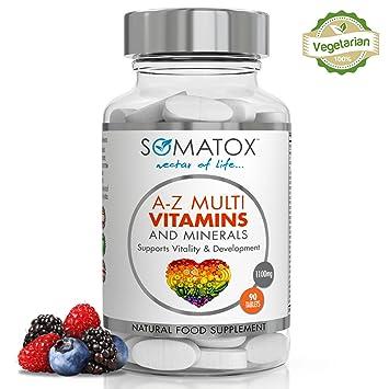 SOMATOX MULTIVITAMINAS Y MINERALES - Suplemento Prémium 1100mg - 90 Pastillas 3 Meses • 31 Vitaminas