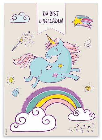 12 Einladungskarten U0026quot;Einhorn Regenbogenu0026quot; Zum Kindergeburtstag /  Geburtstagseinladungen Einladungen Geburtstag Kinder Mädchen Unicorn