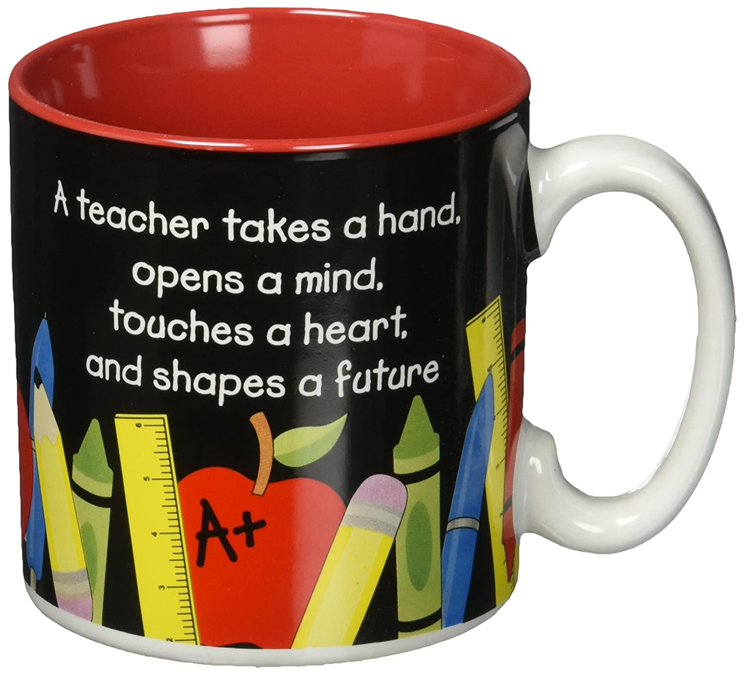 #1 Teacher 13 oz Coffee Mug with Pencil, Rulers, Crayons, and Pen Accents Inexpensive Teacher's Gift Burton & Burton SS-BNB-142100