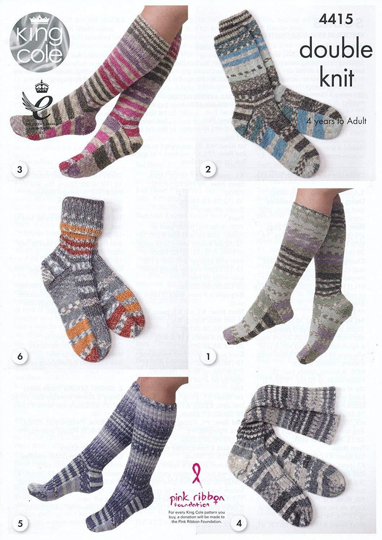 King Cole doble patrón para tejer larga o corta calcetines niños ...