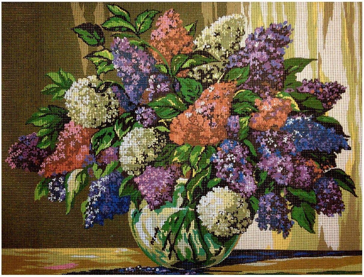 Sticktwist cod.088 inkl Hudemas Gobelin Stickbild Stickpackung Landblumen halber Kreuzstich 25x25cm