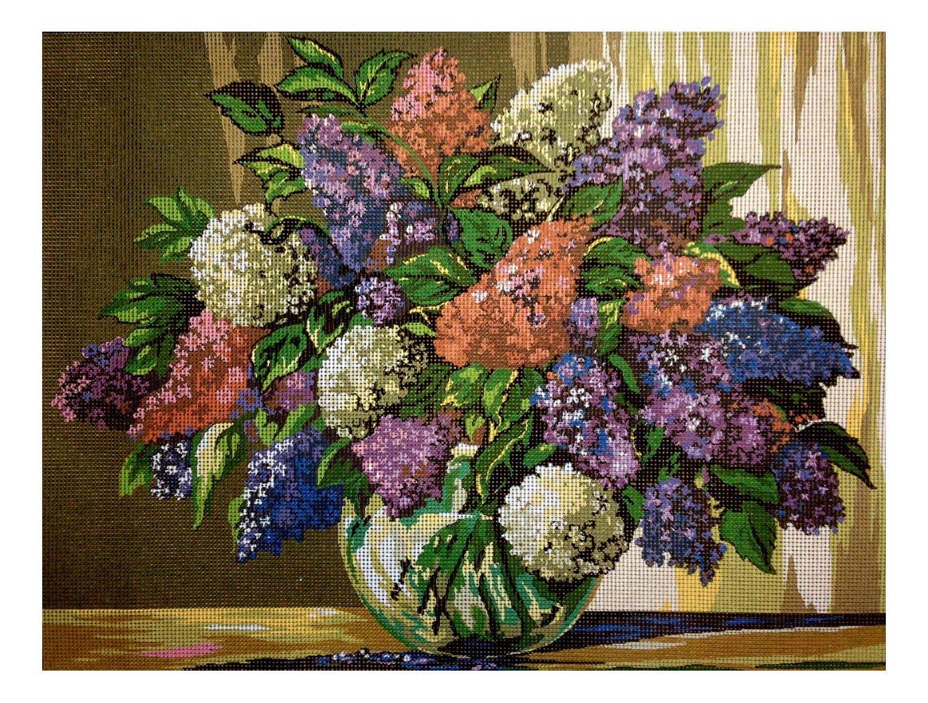 Aidalux Needlepoint Kit Lilac Flowers 15.7x11.8 (40x30cm) Printed Canvas 054 Hudemas
