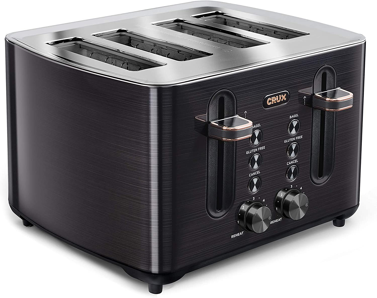 CRUX 4-Slice Toaster with Extra Wide Slots & 6 Setting Shade Control, Black Stainless Steel