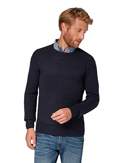 Tom Tailor Casual Men s Weicher Rundhals Strickpullover, Pullover Mit  Langenarm Jumper, Blue (Knitted d3ea5a1a47