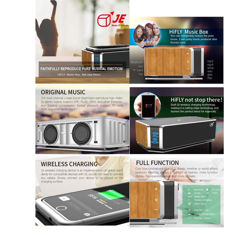 JE Mobiler Bluetooth 4 0 Lautsprecher 10W Stereo Wireless Speaker mit reinem Bass und Qi Induktive Ladestation für mit Samsung Galaxy S6 S7 Edge Nexus 7