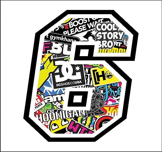 Sticker Number 6 Race 12 Cm Sticker Bomb Rennen Cross Track Auto Motorrad Aufkleber Auto