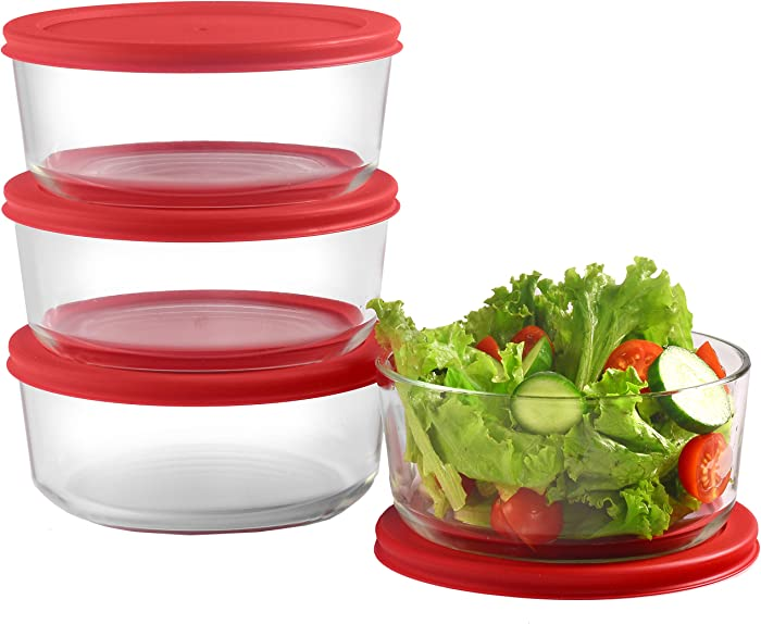 Bovado USA Glass Food Storage Containers with Red Airtight Lids 30oz, 4 Cup Each (Set of 4) | Small Round Mixing Bowls for Meal Prep, Leftovers, Baking, Cooking & Lunch | BPA-Free Kitchen Items