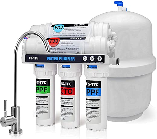 FS-TFC Reverse Osmosis Water Filtration System 5-Stage 100 GPD Plus Extra Set of 4 Filters for Free (FS-RO-100G-A)