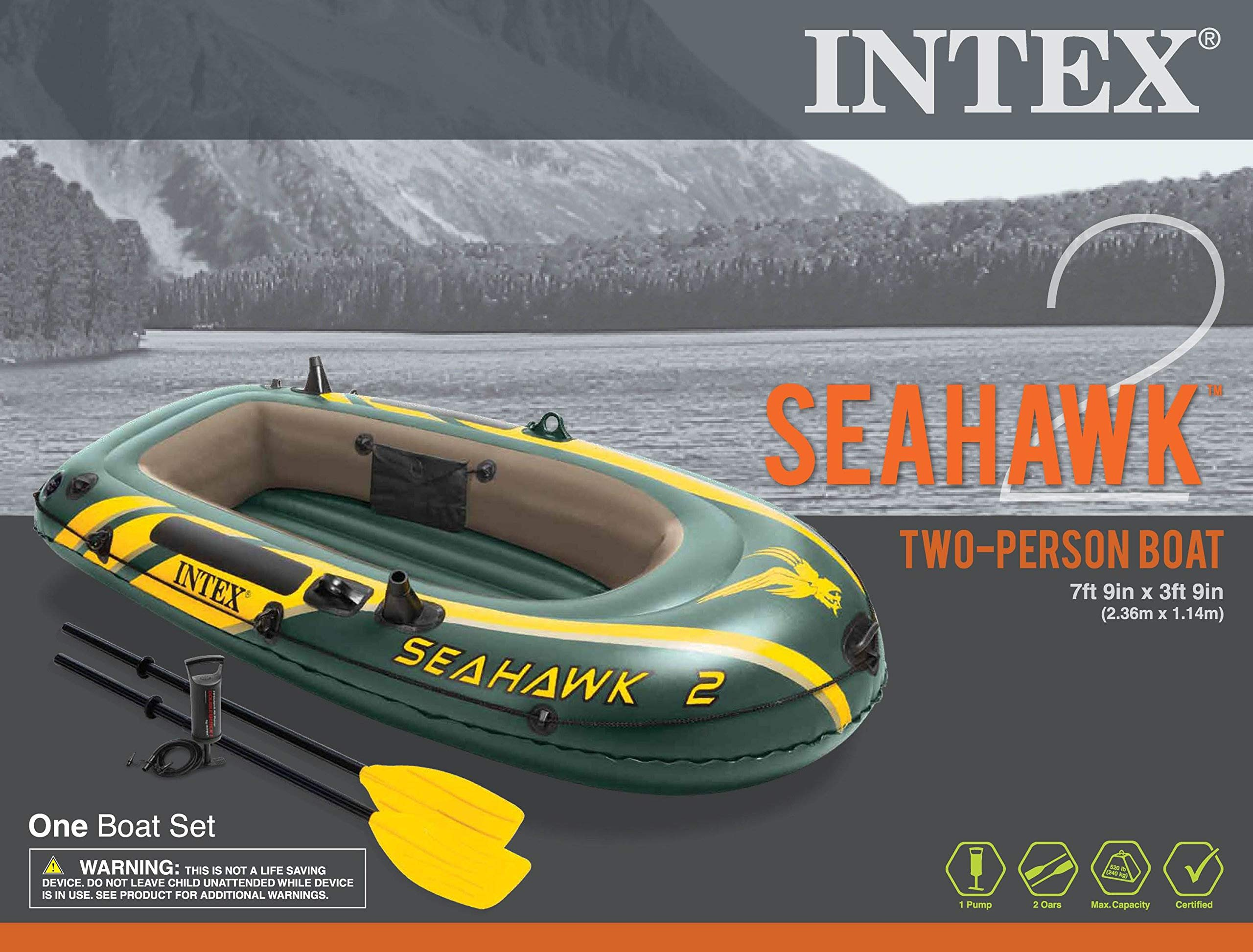 Intex Seahawk 2, 2-Person Inflatable Boat Set with French Oars and High Output Air Pump (Latest Model) by Intex