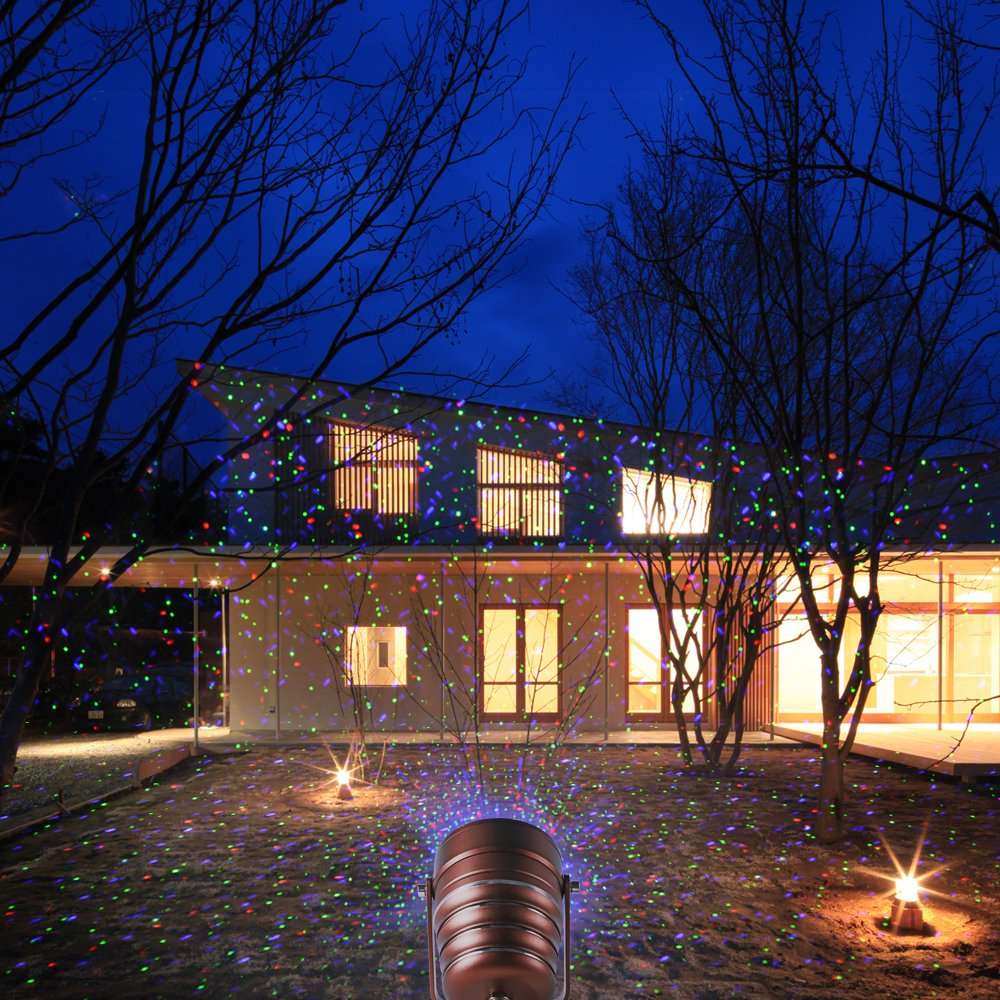 Cheriee Laser Christmas Lights Outdoor Projector Light Star Moving Laser Show Red, Green and Blue Holiday Light Waterproof Landscape Spotlight Aluminum Garden Decorations by CHERIEE (Image #6)