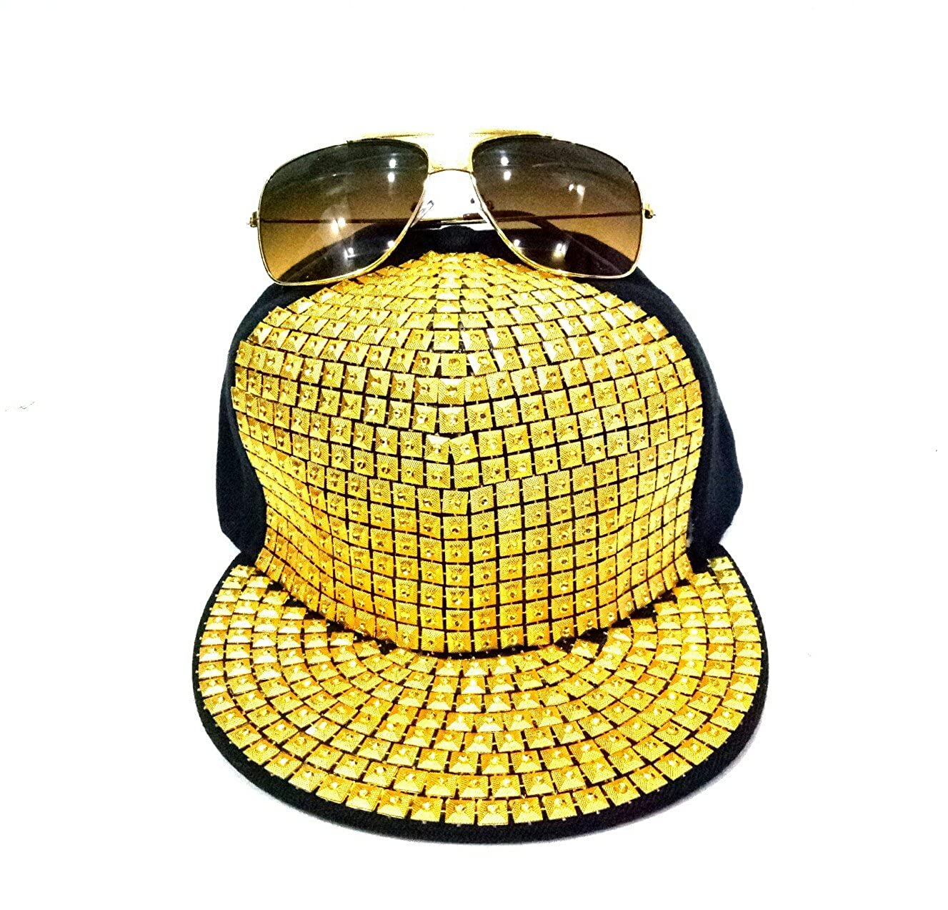 2952b47d921 CANGOL COMBO OF BADSHAH STYLE GOLDEN SUNGLASSES AND HIP-HOP CAP FREE SIZE   Amazon.in  Clothing   Accessories