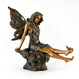 Top Collection Outdoor Aster Fairy Statue with Butterfly on Foot 14-Inch Figurine in Cold Cast Bronze