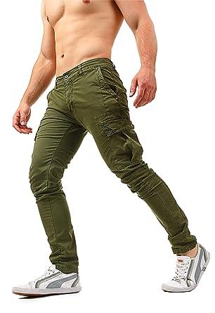aba97fb97e Instinct Pantaloni Cargo Uomo con Tasche Laterali Tasconi Zip Slim Fit W7