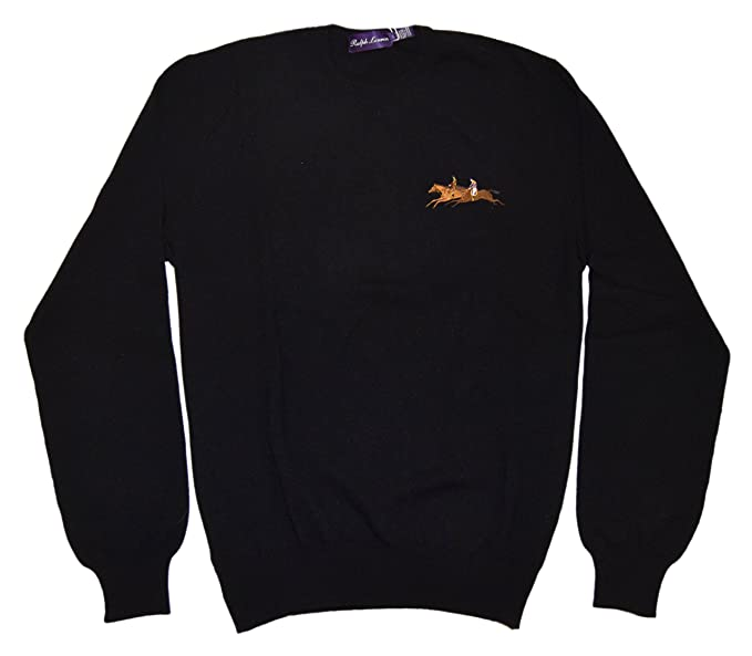adeb337c7 Image Unavailable. Image not available for. Color  Ralph Lauren Polo Purple  Label Mens Cashmere Crew Sweater Black Italy Large