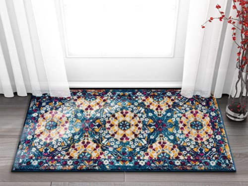 Well Woven Suzani Boho 2×4 2 3 x 3 11 Area Rug Garden Blue Yellow Distressed Traditional Vintage Floral Oriental
