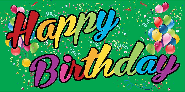 Green Pre-Printed Happy Birthday Banner Rainbow 8 x 4