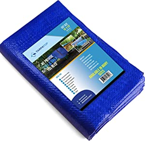 16x20 Waterproof Multi-Purpose Poly Tarp – Blue Tarpaulin Protector for Cars, Boats, Construction Contractors, Campers, and Emergency Shelter. Rot, Rust and UV Resistant Protection Sheet