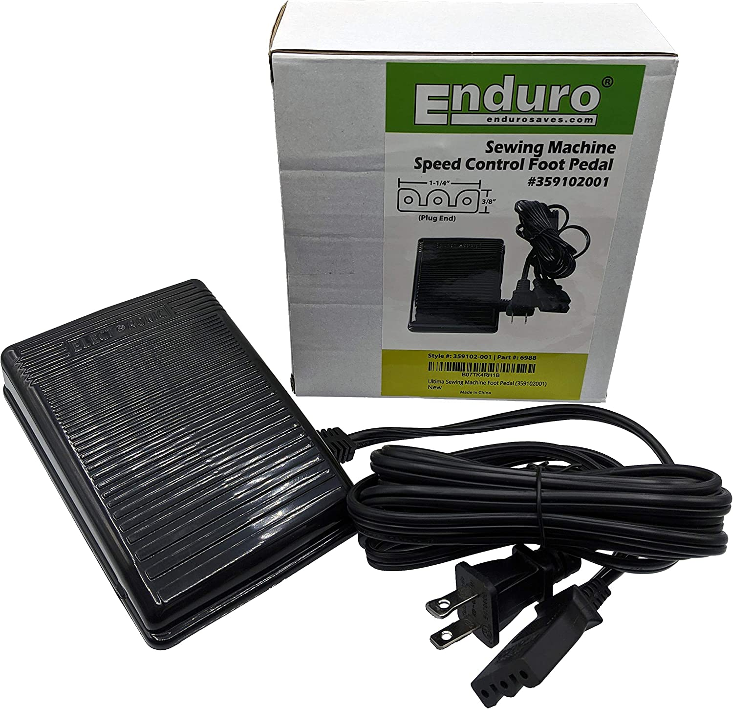 Enduro Sewing Machine Foot Pedal – Variable Speed Foot Operated Control Pedal for Domestic and Imported Sewing Machines (359102001)