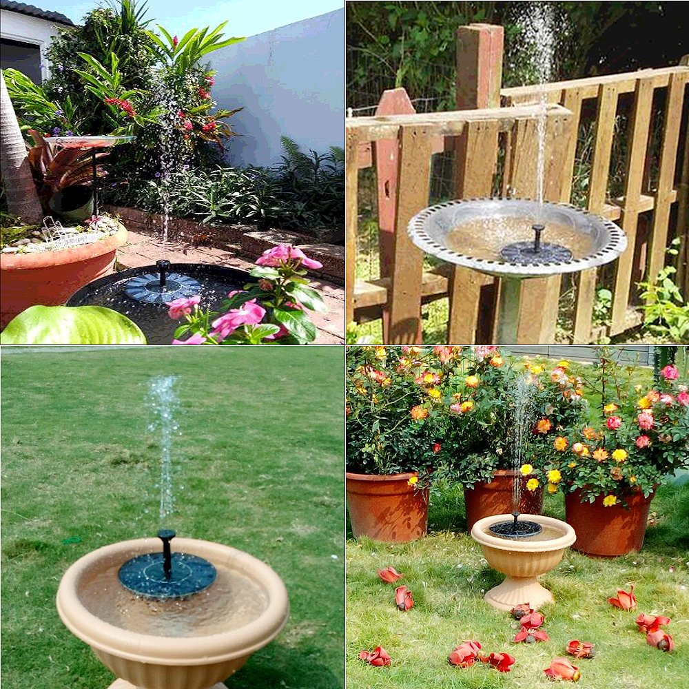 COSSCCI Solar Fountain Pump Bird Bath,1.4w Portable Submersible Free Standing Solar Outdoor Fountain for Small Pond, Patio Garden