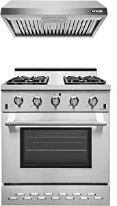 "NXR SC3055 30"" Natural Gas Range & EH3019 Under Cabinet Hood Bundle, Stainless Steel"