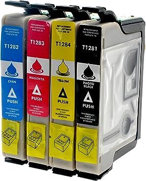 4er Set Tintenpatronen Mit Chip Und Füllstandanzeige Für Epson Sx 125 Kompatibel Zu T1281 T1282 T1283 T1284 1x Bk 12 Ml Color Je 10ml Kompatibel Zu T1285 Bürobedarf Schreibwaren