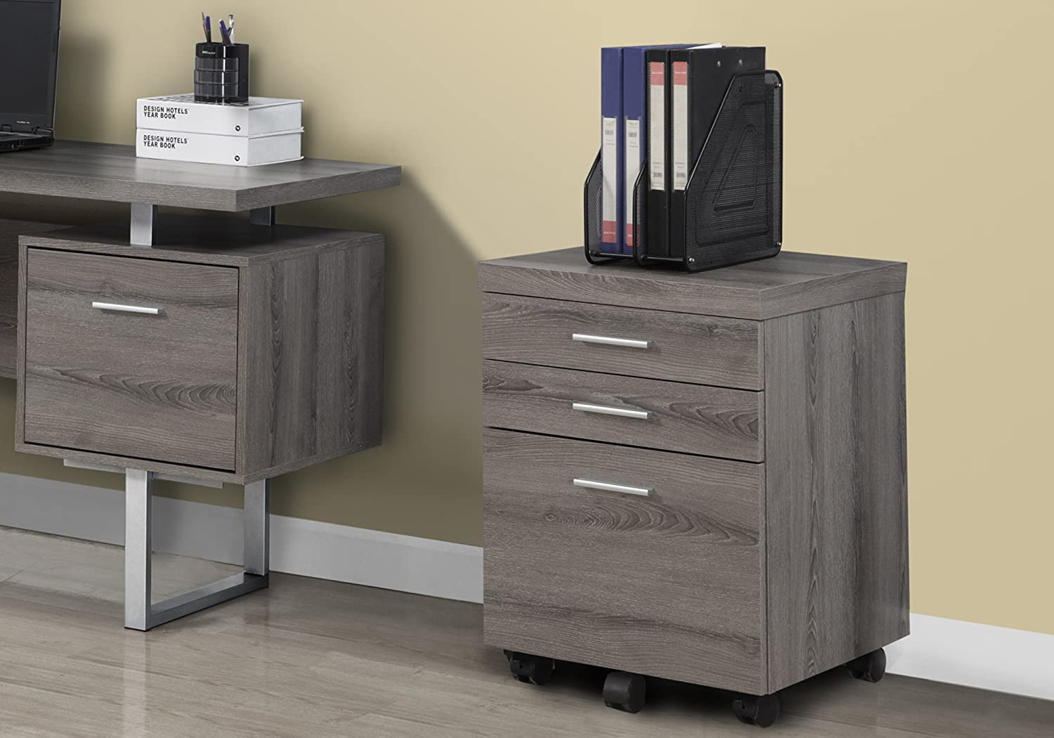 Monarch Specialties Dark Taupe Reclaimed-Look 3 Drawer File Cabinet//Castors I 7049
