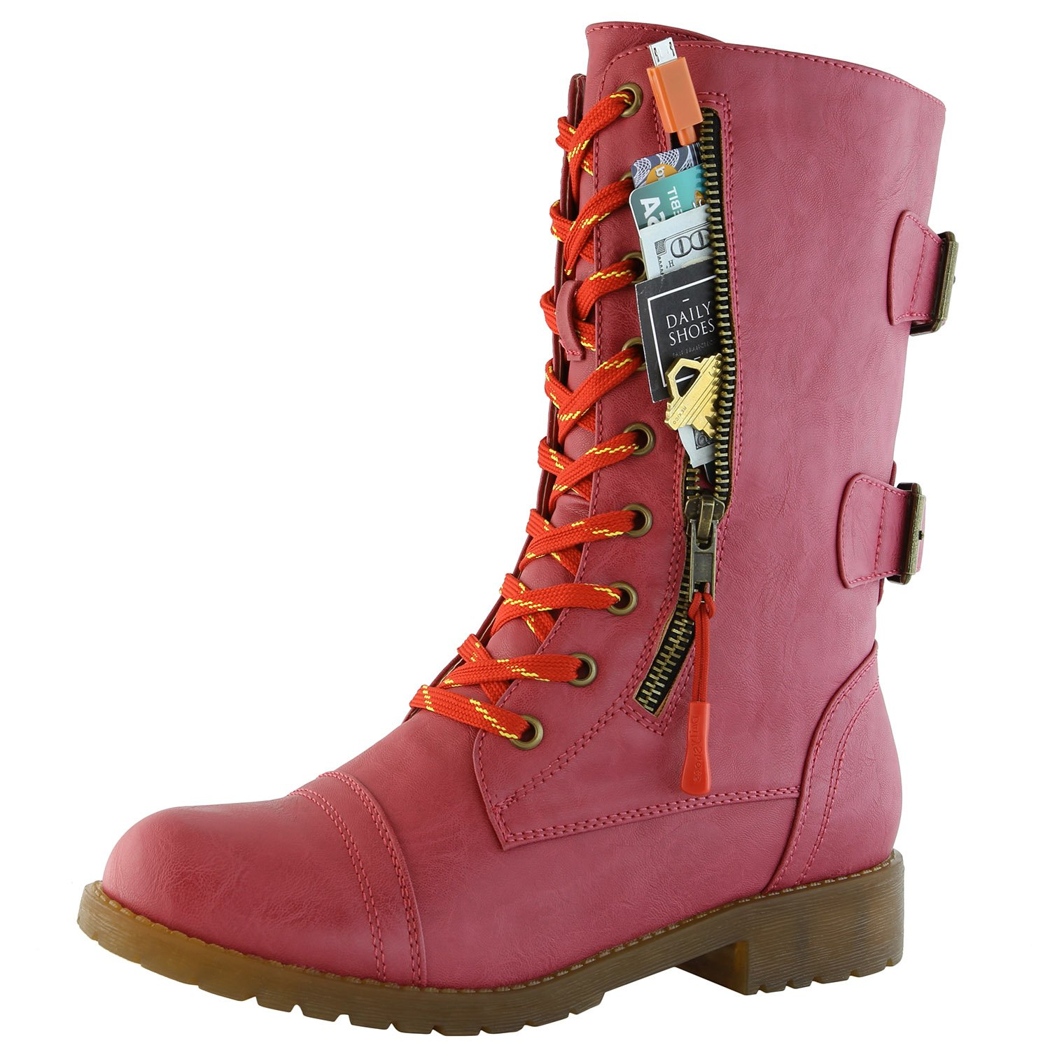 DailyShoes Women's Military Combat Ankle Boots Lace up Buckle Mid Knee High Exclusive Credit Card Pocket Bootie, Premium Hot Pink Pu, 5.5 B(M) US