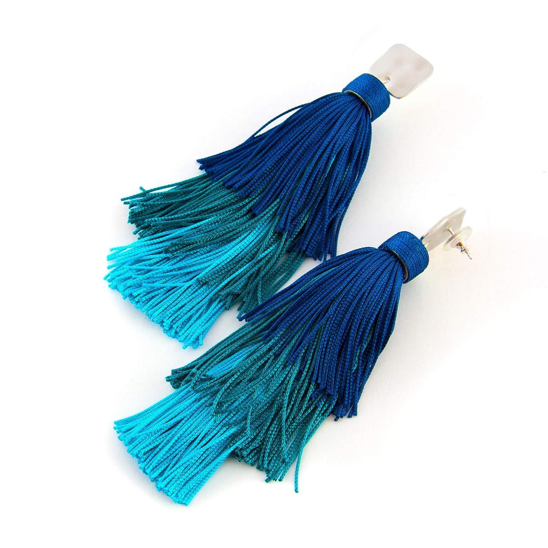 Pendientes largos mujer borla fleco de seda combinado con capuchón estilo boho Cierre presión étnico, Hecho a mano, seda vintage. Plata mate. Colores: Azul oscuro, azul claro y turquesa.