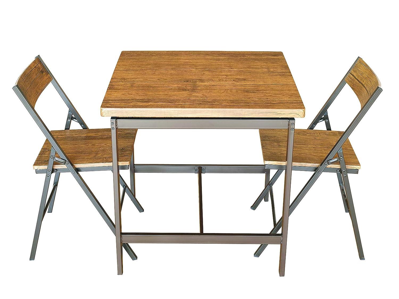 鉄脚 ダイニングテーブル  GRAIN(グレイン)  テーブル チェア 3点セット 幅75cm 鉄フレーム PVC アイアン ヴィンテージ インダストリアル デザイン ブルックリン おしゃれ B071J2W57K Parent  3点セット