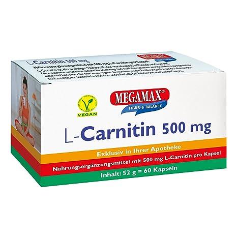 L-carnitina de Megamax (500 mg), 60 cápsulas, vegano Para complementar